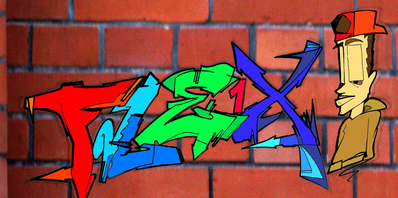 Ein Graffiti mit dem Wort Flex