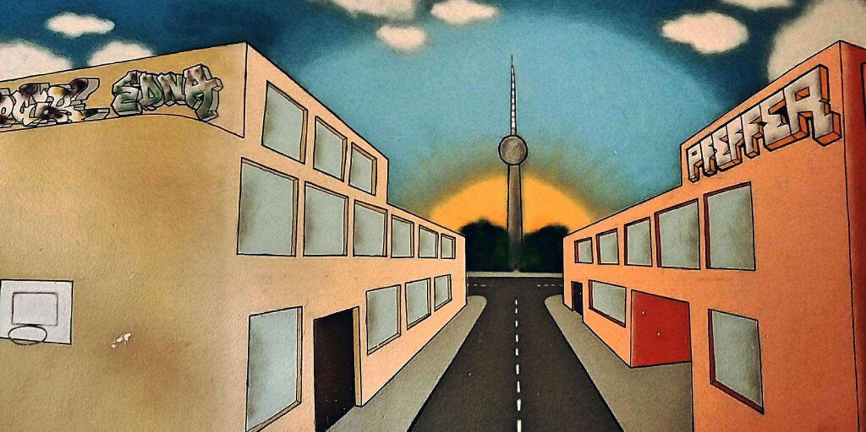 Wandbild mit einer Straße, an deren Ende der Fernsehtumr vor einer aufgehenden Sonnen steht.