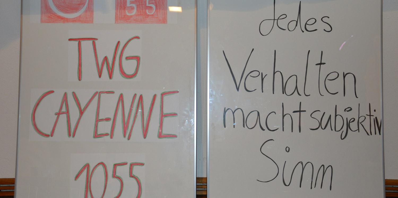"""Zwei Whiteboards nebeneinander, dass eine hat das Logo und die Aufschrift """"twg cayenne 1055"""" und auf dem anderen steht """" Jedes Verhalten macht subjektiv Sinn"""""""