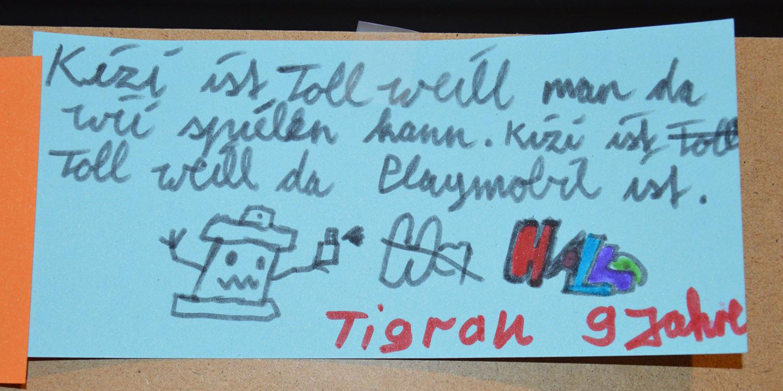 Eine selbstgeschriebene Nachricht von einem neun Jährigen Jungen