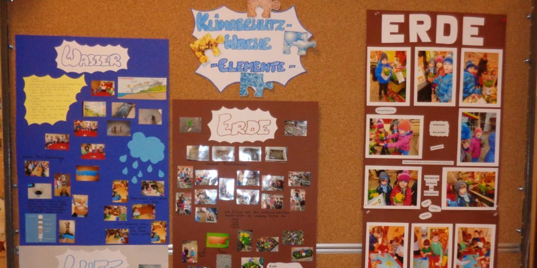 Drei Plakate mit Bildern von Kindern und mit den Themen Wasser, Erde und Klimaschutz