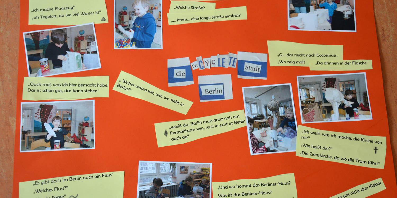 """Ein Plakat zum Thema """"die recyclete Stadt Berlin"""" mit Fotos und Texten"""
