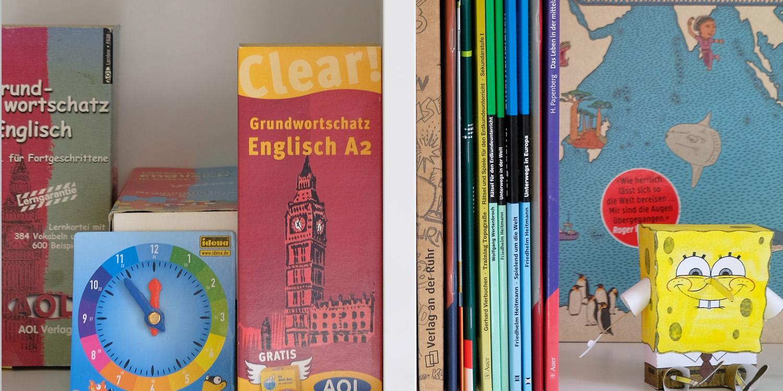 Mehrere Büchen in zwei Fächern eines Regals. Die Bücher behandeln Schulstoff zu unterschiedlichen Fächern