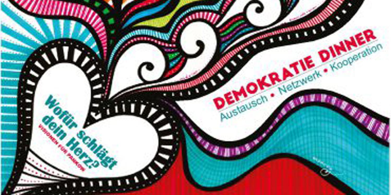 Buntes Bild vom Demokratie Dinner mit dem Logo vom Demokratie Dinner