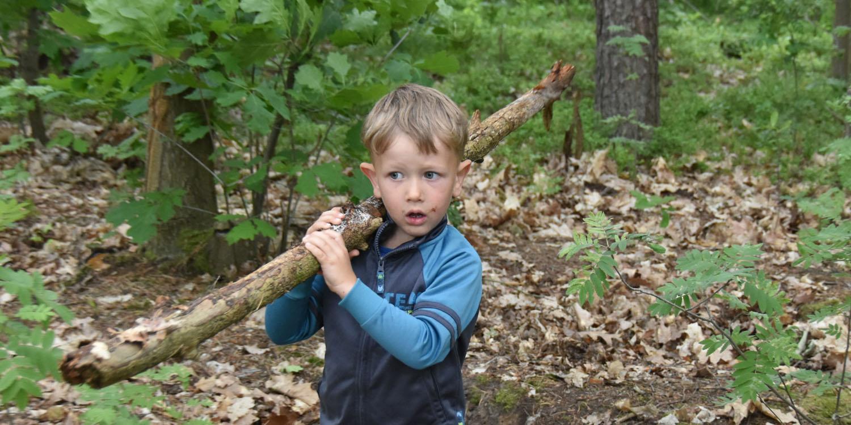 Ein Junge trägt einen längeren Ast