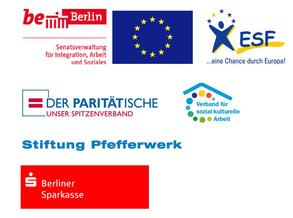 Logos EU, berlin, Paritätischer, Verband sozial-kulturelel Arbeit, ESF, Sparkasse