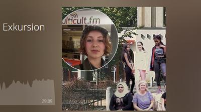 Collage mit Fotos vom Pfefferberg und Auszubildenden. Im Vordergrund: Die Interviewerin