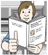 Zeichnung: Ein Mann liest ein Buch und zeigt mit dem Daumen der rechten Hand nach oben.