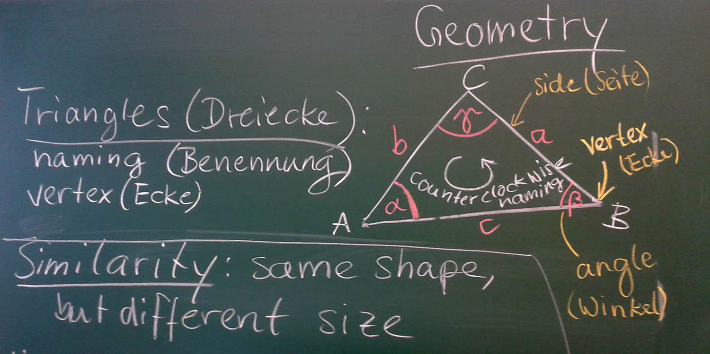 Tafel mit Geometrie-Lehrstoff